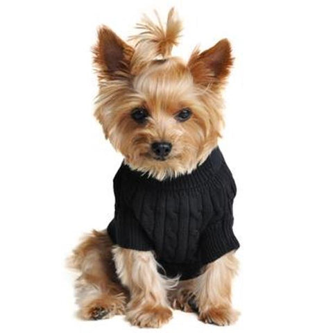 Dog Sweater Combed Cotton Cable Knit - Jet Black Doggie Design