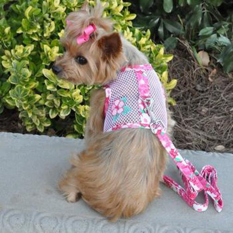 Cool Mesh Dog Harness & Leash Hawaiian Hibiscus - Pink