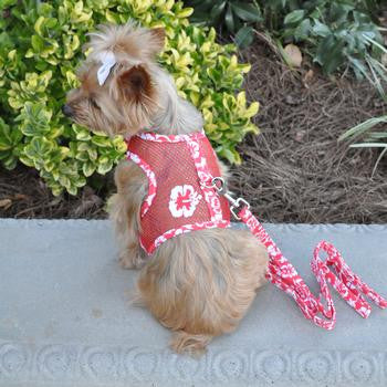 Doggie Design Cool Mesh Dog Harness & Leash Hawaiian Hibiscus - Red