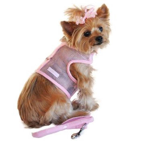 Cool Mesh Dog Harness & Leash - Solid Pink