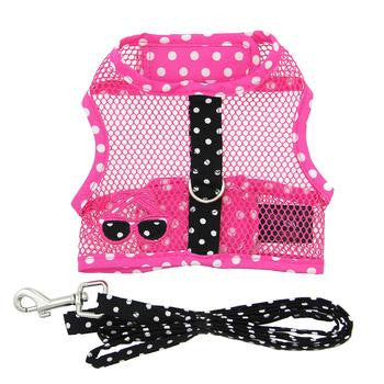 Cool Mesh Dog Harness Under the Sea Collection - Pink and Black Polka Dot Sunglasses