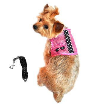 Cool Mesh Dog Harness & Leash Under the Sea Collection - Sunglasses Pink and Black Polka Dot