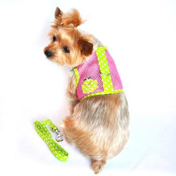 Cool Mesh Dog Harness & Leash Under the Sea Collection - Frog Green Dot and Pink