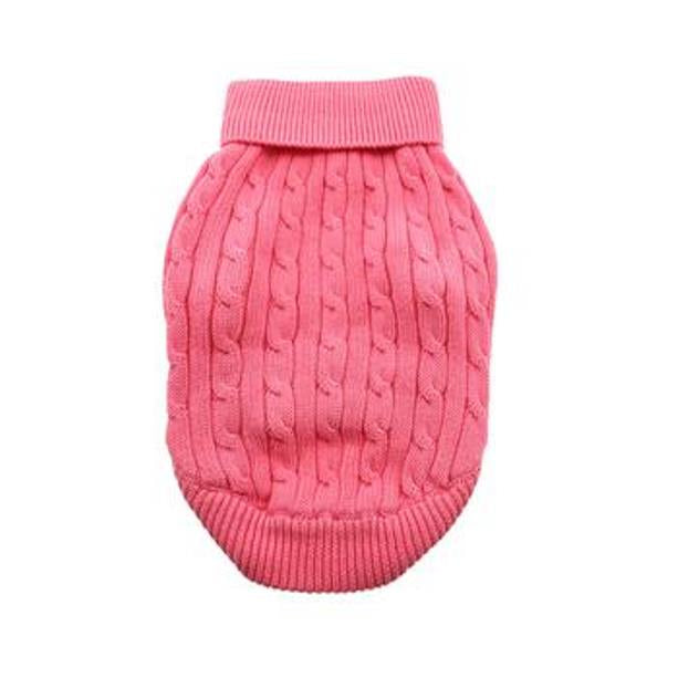 Combed Cotton Cable Knit Dog Sweater - Candy Pink Clearance