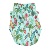 Hawaiian Camp Dog Shirt - Surfboards and Palms by Doggie Design