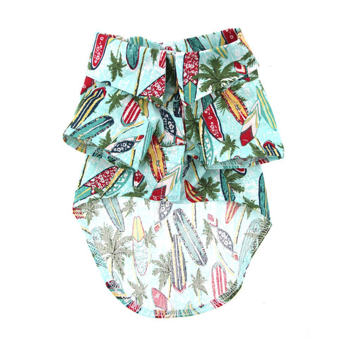 Hawaiian Camp Dog Shirt - Surfboards and Palms