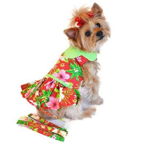 Hawaiian Red Hibiscus Doggie Designer Dress
