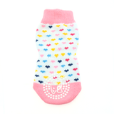 Non-Skid Dog Socks - Pink and White Hearts