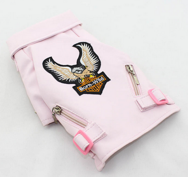 Pink Born Wild Motorcycle Jacket for your Dog