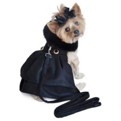 BLACK WOOL FUR TRIMMED DOG COAT & LEASH BY DOGGIE DESIGN