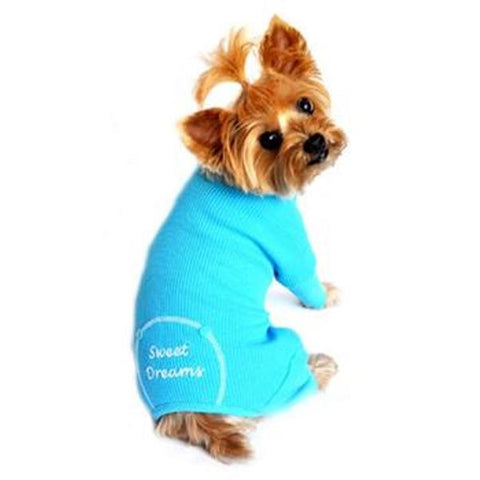 Sweet Dreams Thermal Dog Pajamas Blue