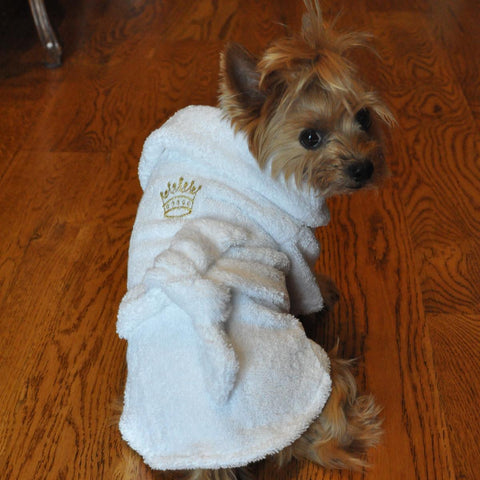 Dog Bathrobe White Gold Crown Cotton by  Doggie Design