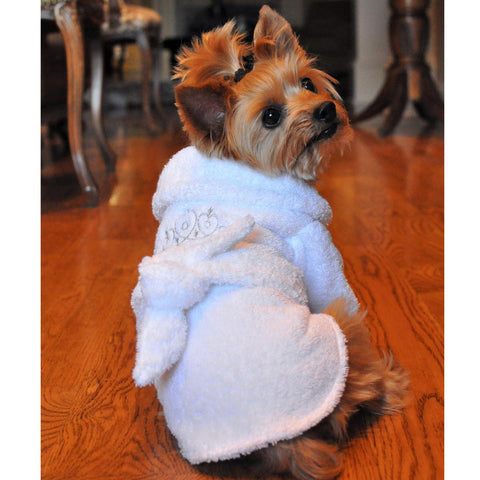 White Silver Tiara Cotton Dog Bathrobe by Doggie Design