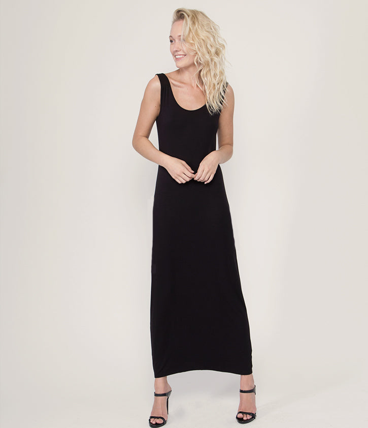 Cowl Back Maxi Dress | Black - Loveappella