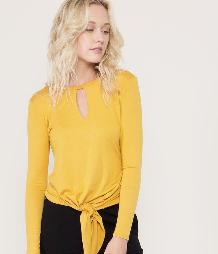 Long Sleeve Front Knot Blouse | Marigold - Loveappella