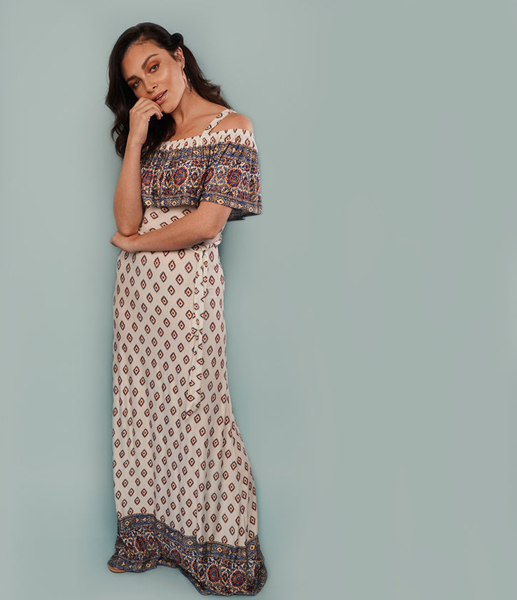 Cold Shoulder Maxi Dress | Geo Border Print - Loveappella