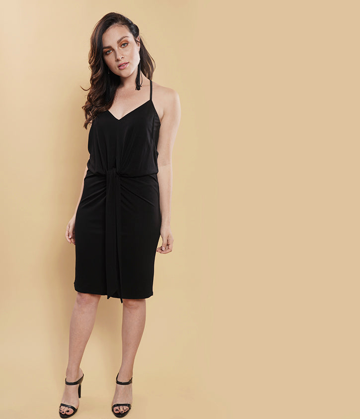 Knotted Front Dress | Black - Loveappella