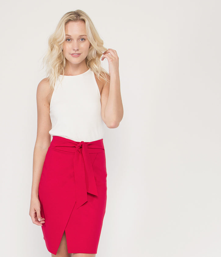 Tie Wrap Skirt | Red - Loveappella