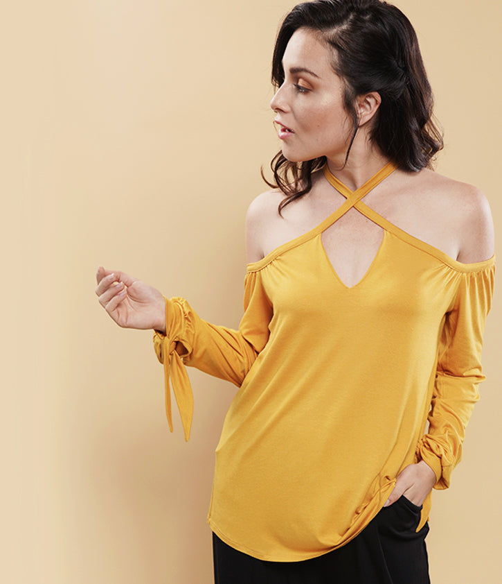 Cold Shoulder Cutout | Marigold - Loveappella