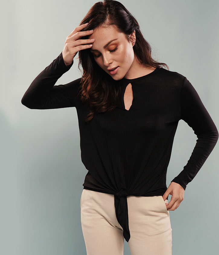 Long Sleeve Front Knot Blouse | Black - Loveappella