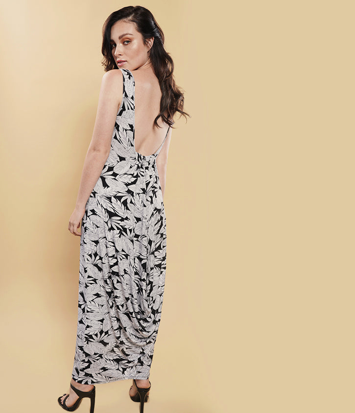 Cowl Back Maxi Dress | Wren Feather Print - Loveappella