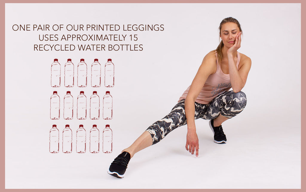 Printed Yoga Leggings made from recycled plastic bottles.