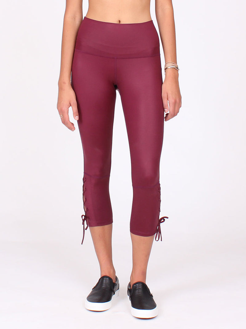 Lace Up Capri in Bordeaux