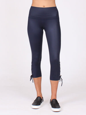 The Lace Up Capri in Midnight
