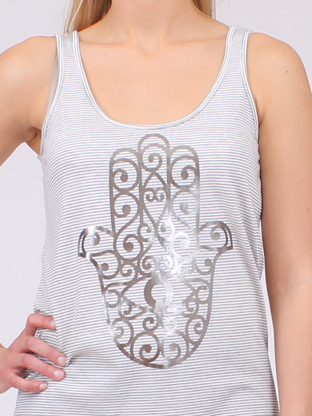 The Hamsa Stripe Yoga Tank