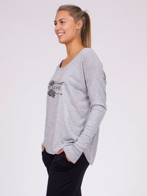 The Breathe Maxi Pullover in Heather Grey