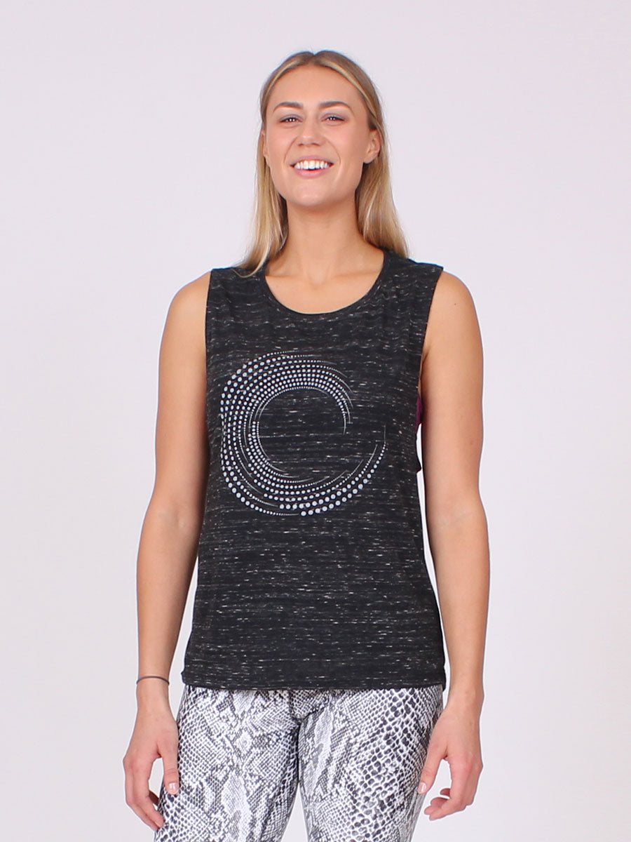 Infinite Yoga Top in Black Heather
