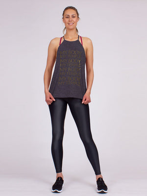 The My Body Yoga Halter in Charcoal