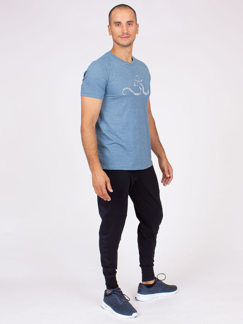 The Ohm Yoga Tee for Men in Washed Denim