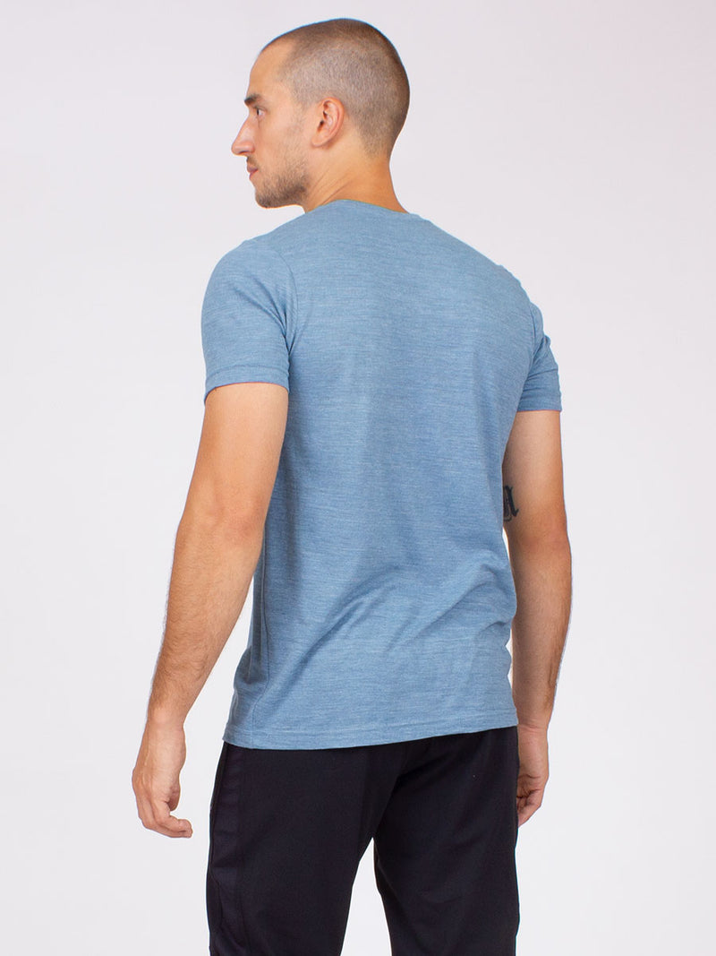 Mens ohm yoga tee in washed denim 4