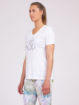 Ohm Yoga Tee in White