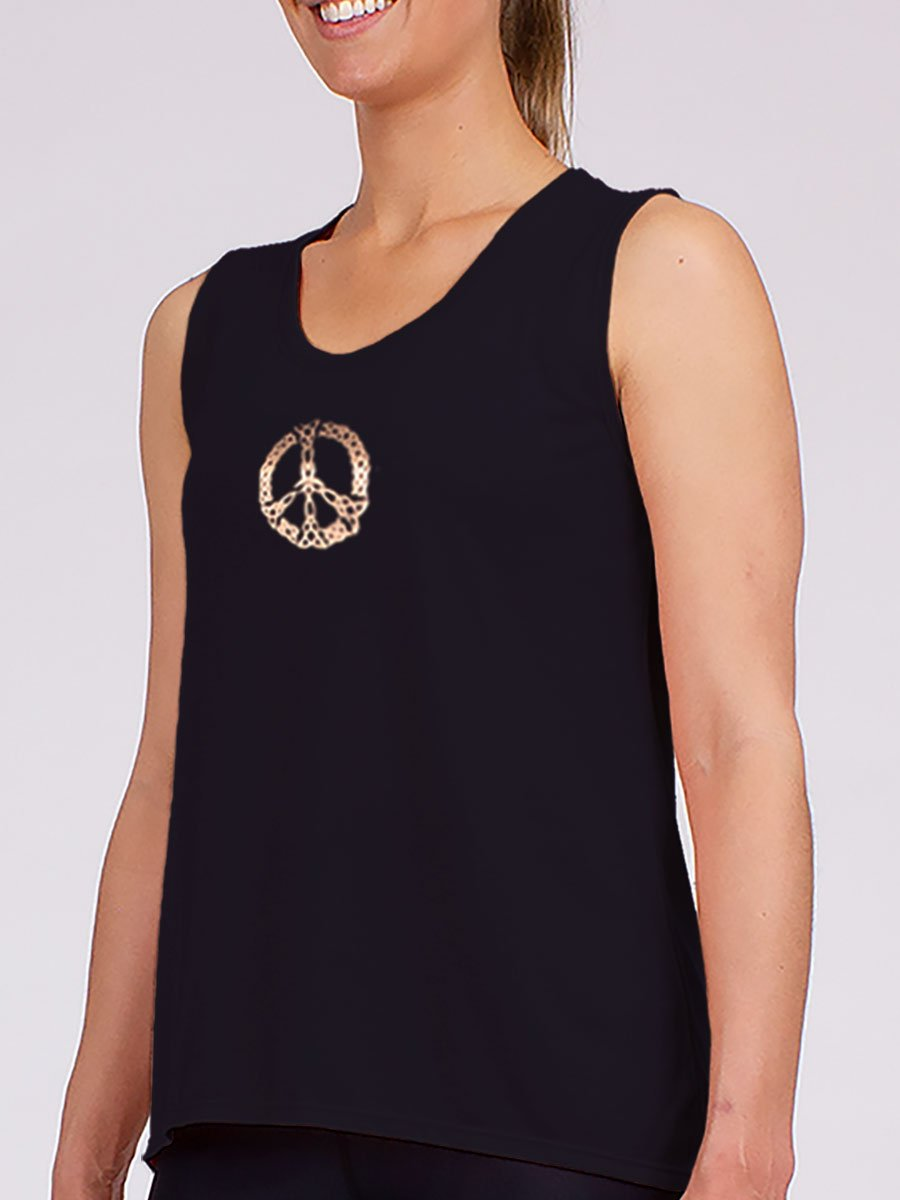The Peace Yoga Tank in Black