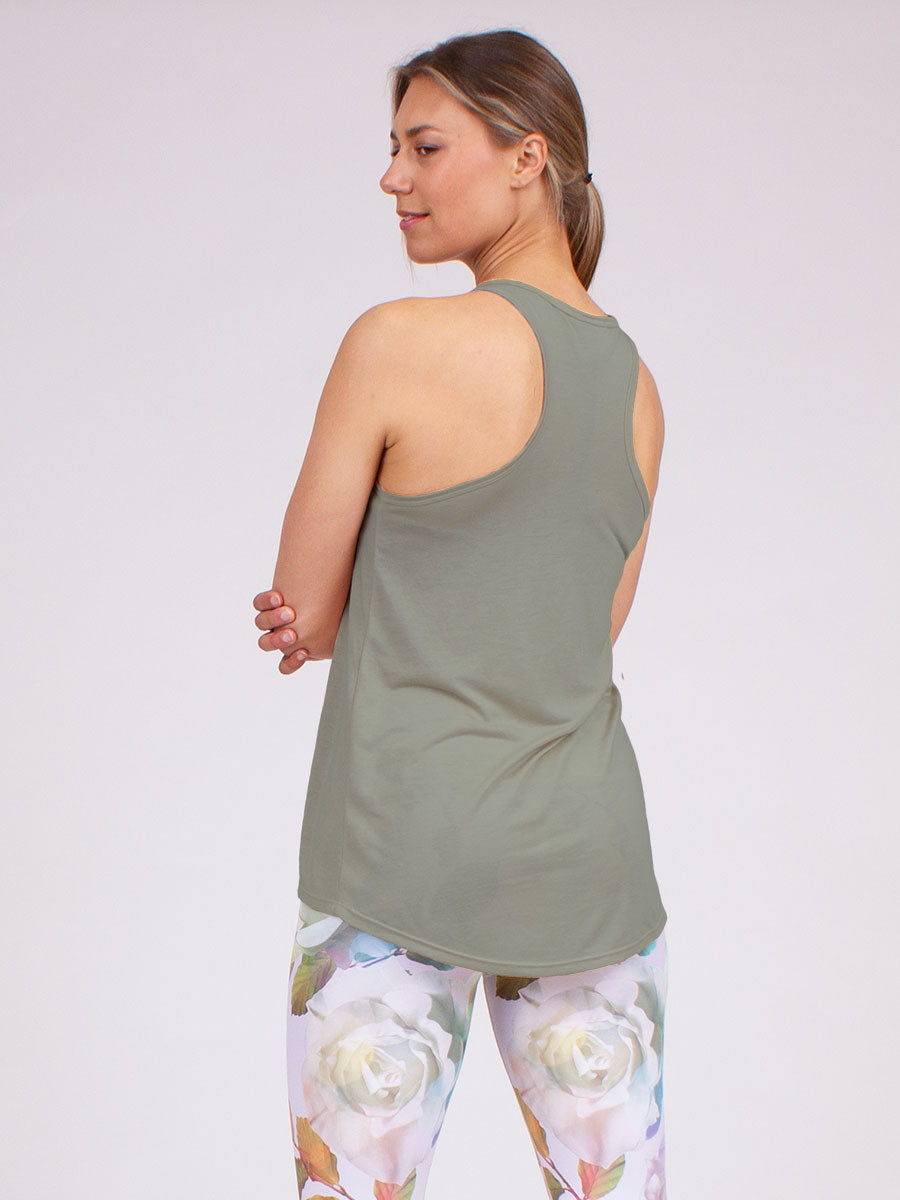 Peace Love Yoga Tank in Sage