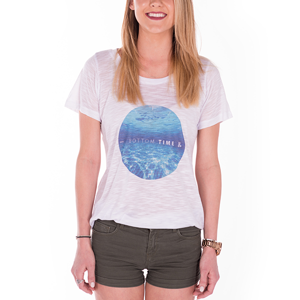 Smile Gals T-Shirt | Bottom Time | White - Smile Share The Vibe