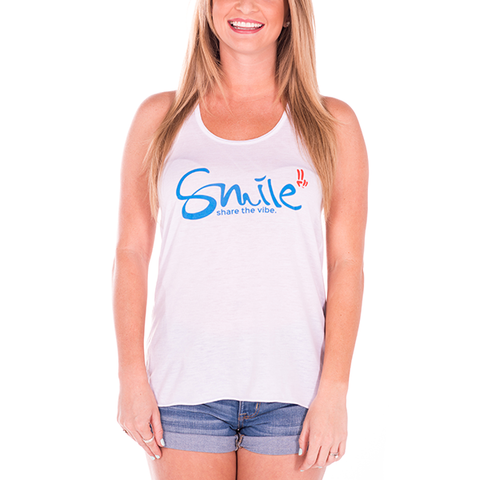 Smile Gals Tank Top | Classic | White - Smile Share The Vibe