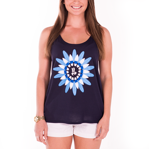 Smile Gals Scoop Tank Top | Surfboard Garden | Midnight - Smile Share The Vibe
