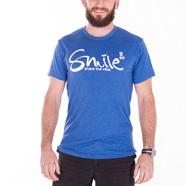 Smile Guys T-Shirt | Classic | Blue Triblend - Smile Share The Vibe