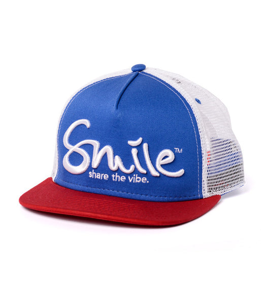 Smile Hat | Oh Snap Red | White | Blue - Smile Share The Vibe