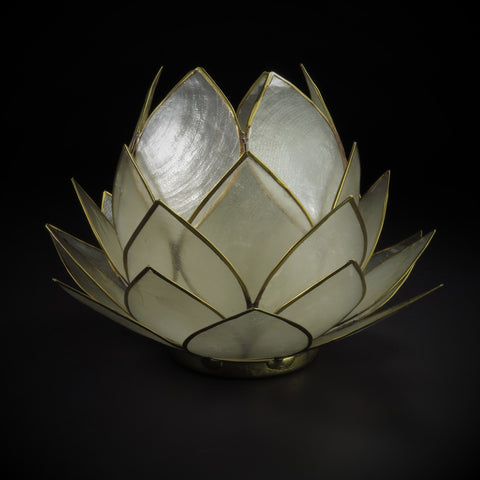 Closed Bloom Lotus Tea Candle Holder White