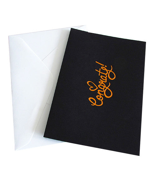 CONGRATS COPPER FOILED CARD - Black