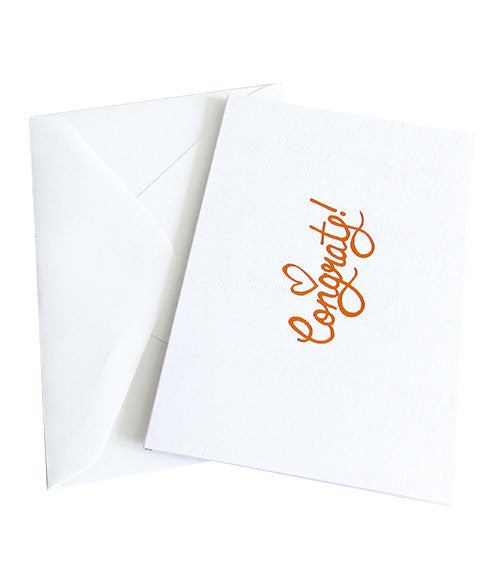 CONGRATS COPPER FOILED CARD - White Linen