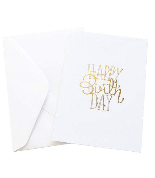 HAPPY BIRTHDAY GOLD FOILED CARD - White
