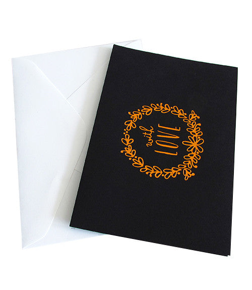 WITH LOVE COPPER FOILED CARD -  Black