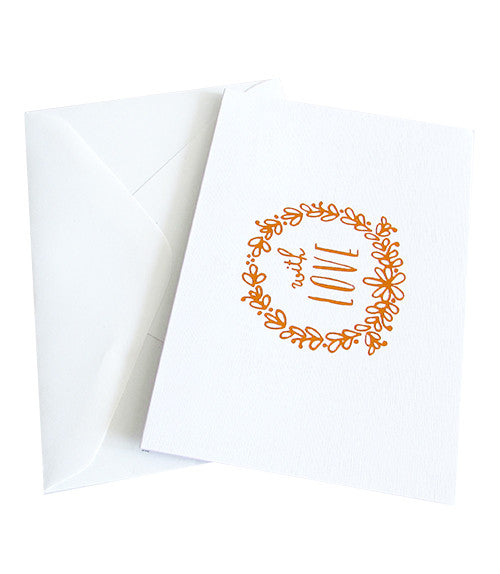 WITH LOVE COPPER FOILED CARD - White Linen