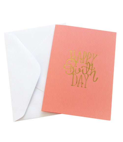 HAPPY BIRTHDAY GOLD FOILED CARD - Salmon