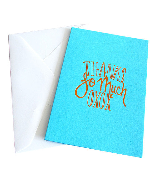 THANKS SO MUCH OXOX COPPER FOILED CARD -  Turquoise